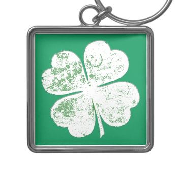 White Grungy Four-Leaf Clover on Green Ground Silver-Colored Square Keychain