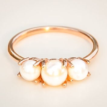 14k Rose Gold Pearl Ring - Pearl Engagement Ring - Rose Gold Ring - Statement Ring - 14k Gold Ring - Multistone Ring - June Birthstone Ring