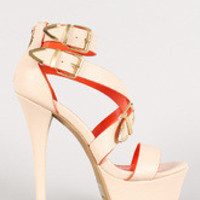 Women's Anne Michelle Leatherette Triple Buckle Strappy Platform Heel