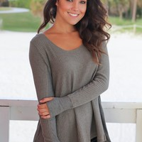 Olive Long Sleeve Top with Thumb Holes