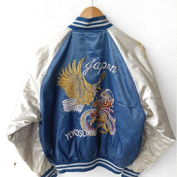 ON SALE SUKAJAN Japanese Vintage 1990's Embroidery Japan Eagles Hawaii Blue Jacket Embroidered Souvenirs Bomber Jacket