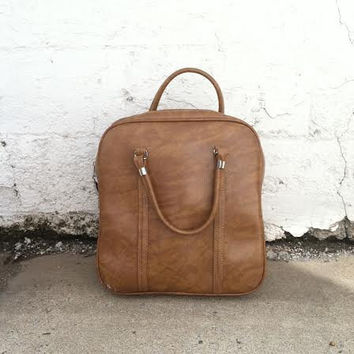 Vintage Amelia Earhart Travel Bag - Brown Carry On, Weekender, Overnight Bag, Luggage