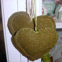Wool Felt Heart Deployment Gift  Ornaments made from Vintage WW II US Military Sleeping Bag