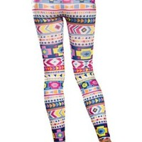 Amour- Women's Pattern Leggings Cotton Stretch Pants - Many Designs (Colorful Aztec):Amazon:Clothing