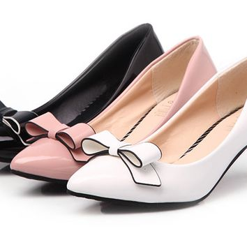 Womens Cute Ribbon Bow Kitten Heels