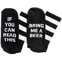 If You Can Read This...Bring Me A Beer Socks in Black and White
