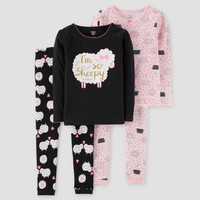 Baby Girls' 4pc I'm So Sheepy Long Sleeve Cotton Pajama - Just One You™ Made by Carter's® Black