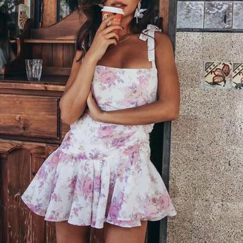 Summer robe mini dress women vintage Sexy beach Irregular pleated floral strap dress with lace up chiffon dress for women