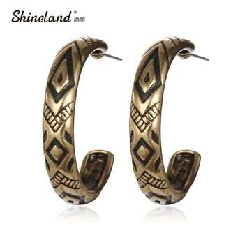 Vintage Round Carving Hoop Earrings For Women
