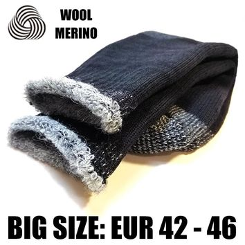 Merino Wool Men Super Thick Warm Work Socks Man Full Cushion  Sock Boy Big Size Winter Thermal Crew Socks EXWSM005