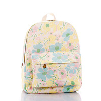 Korean Floral Canvas Pastoral Style Backpack = 4887412740
