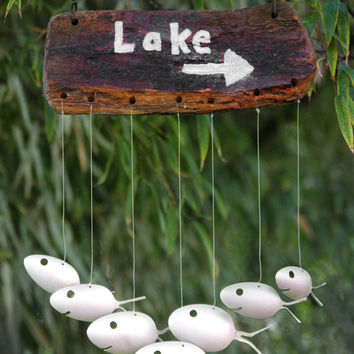 Lake sign, spoon fish wind chime