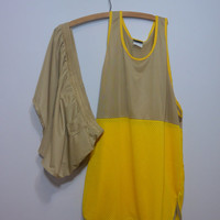 Vintage Mens Yellow and Khaki Tank and Shorts Track Suit By Sears Sports Center Size L XL