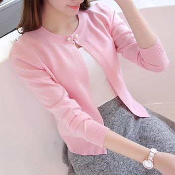 High quality Autumn Spring women's solid color Cardigan Sweater outerwear One button lady style long-sleeve cashmere coat ZS-00