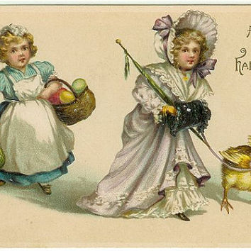 Old Easter Postcard, Victorian Girls Postcard, Holiday Postcard, Easter Chick Postcard, Easter Eggs Postcard, 1910s Old Easter Decor