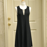 Black Rhinestone Tank Dress Sz. M // 1980s Formal Swing