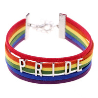 """Pulsera Gay Pride multicolor """"PRIDE""""leather bracelets Hot COLOR jewelry Lesbian LGBTbracelet for Men and Women collares"""
