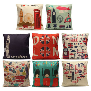 New Square London Bus Britain Flag Decorative Pillow