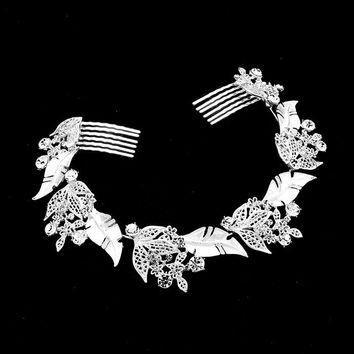 Floral Leaf Crystal Accented Hair Comb