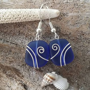 Made in Hawaii, Wire wrapped cobalt blue sea glass earrings, Sterling silver hook, gift box. Beach glass  jewelry gift.