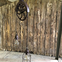 Industrial Vintage Double Pulley Pendant Lamp