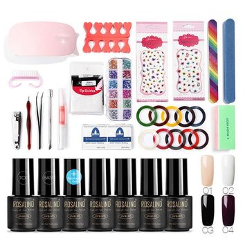 ROSALIND Acrylic Nail Kit UV Led Manicure Set 7ml 4 Colors UV Gel Polish Nail Art with Lamp Manicure Set Professional Design