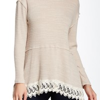 Long Sleeve Lace Trim Tee