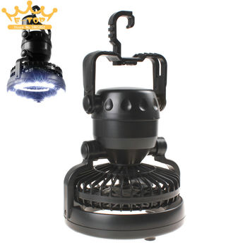 2-in-1 18 LED Camping Light Lantern Outdoor Hiking LED Tent Light with Ceiling Cooling Fan