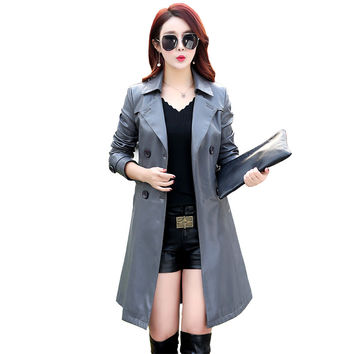 new women Korean coat fashion PU leather jacket long paragraph Slim , design suit jacket casual women leather coat