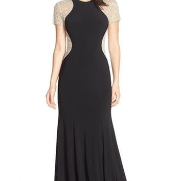 Women's Xscape Beaded Mesh & Jersey Gown,