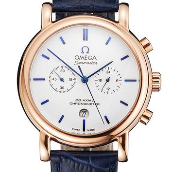 Omega Seamaster Vintage Chronograph White Dial Blue Hour Marks Rose Gold Case Blue Leather Strap