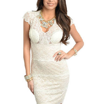 Women's Ark & Co. Ivory Fitted Lace Dress Sz S, M, L