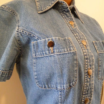 1980s Vintage Eddie Bauer Denim Dress