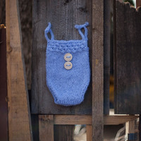 Cute Blue Romper, Blue bloomers, Mohair Knit bloomers, Newborn Photo prop