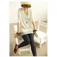 New Arrival Laconic and Mix-Matched Dot Pattern Bottoming Nine Cent Leggings For Female China Wholesale - Everbuying.com