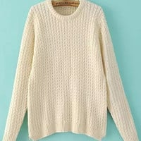 Beige Cable Knit Sweater