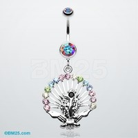 Peacock Gleam Belly Button Ring