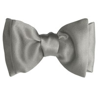 Soave-Classic Silk Satin Self-Tie Bow-Silver