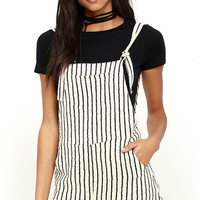 Billabong Sunny Dazer Black and Cream Striped Romper