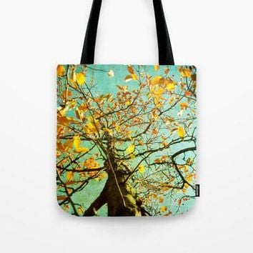 Art Tote beach bag A Different Perspective art photography nature photograph mustard yellow abstract tree photo summer fashion aqua blue