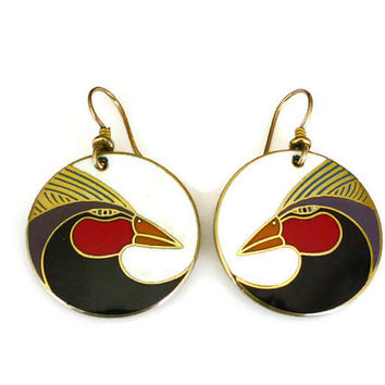 Laurel Burch Earrings Harlequin Birds Gold Tone Enamel Pierced Dangle Vintage Jewelry