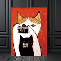 canvas painting Picture Cartoon cat wall art painting art canvas Picture decor poster Wall art abstract art print Wall Picture