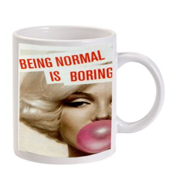 Gift Mugs | Marilyn Monroe Being Normal Is Boring Bubble Gum Ceramic Coffee Mugs