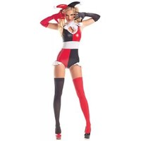 Evil Harlequin Costume Adult Jester Harley Quinn Halloween Fancy Dress