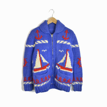 Vintage Cowichan Sailboat Sweater Jacket in Nautical Blue White Red- medium