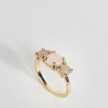 ASOS CURVE Exclusive Semi-Precious Triple Set Stone Ring at asos.com
