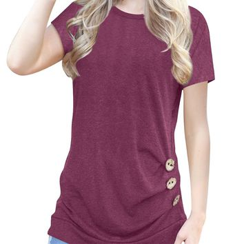 JomeDesign Women's Short Sleeve Casual T-Shirt Tunic Top Blouse Plus Size Maroon L