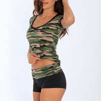 Miami Style® - Yoga Shorts Camo Folding Waistband