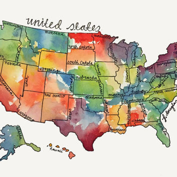 Watercolor United States Map- Giclee Print
