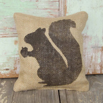 Woodland Squirrel - Burlap Feed Sack Doorstop